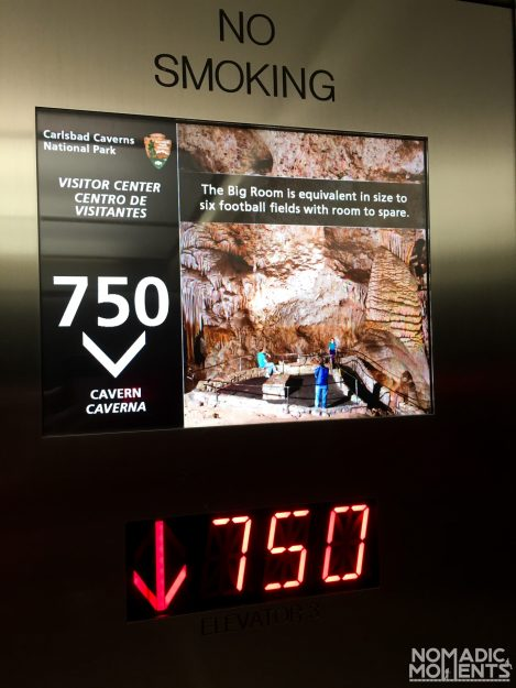 The Carlsbad Cavern Elevator drops 750' into the earth.