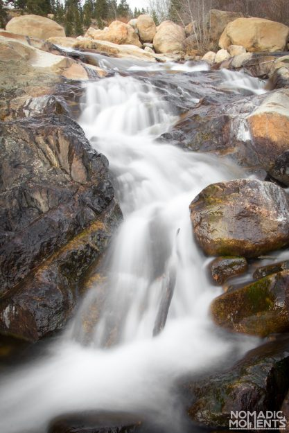The Alluvial Fan waterfall of Rocky Mountain National Park.