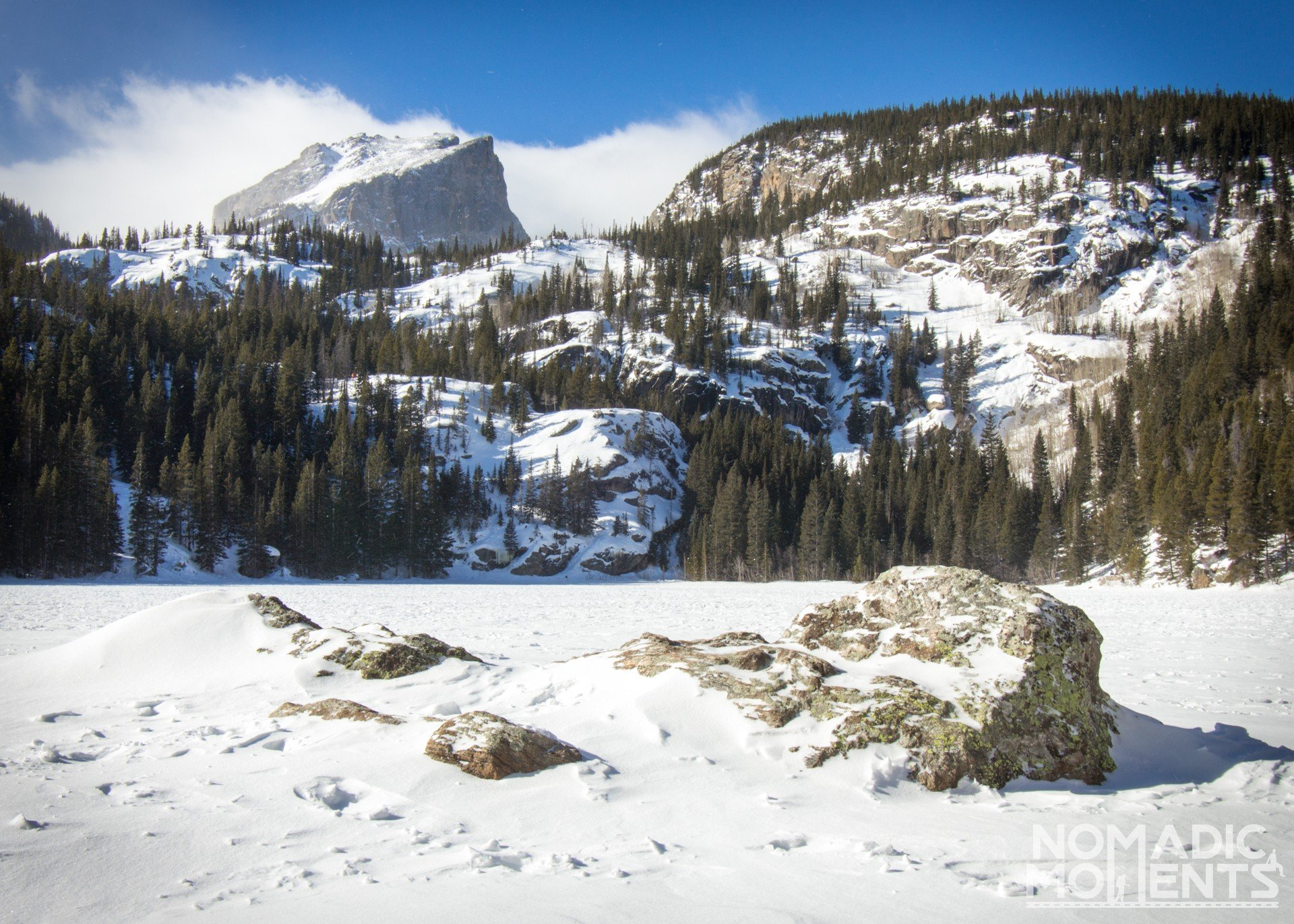 Rocky Mountain National Park's Bear Lake in winter.