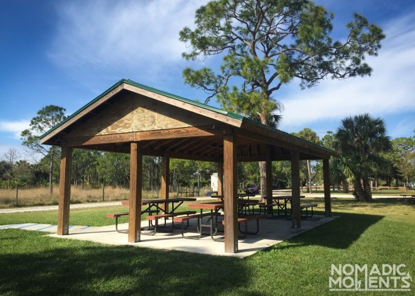 Covered picnic tables and free camping in Florida