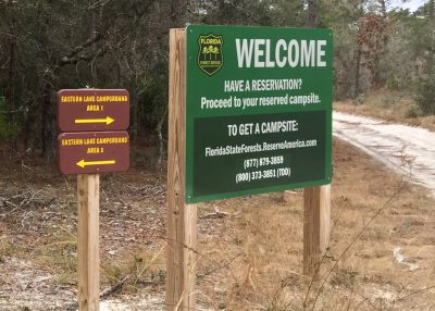 Free Camping in Florida State Forest Sign