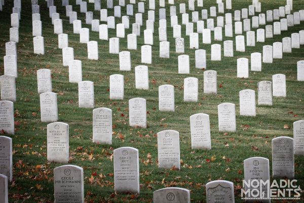 Visiting Arlington National Cemetery and the ocean of buried heroes.