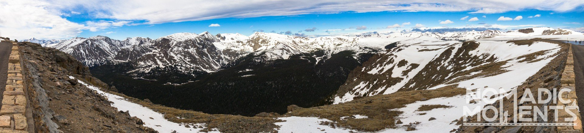 A view of the snowcapped mountain of Rocky Mountain National Park from Trail Ridge Road.