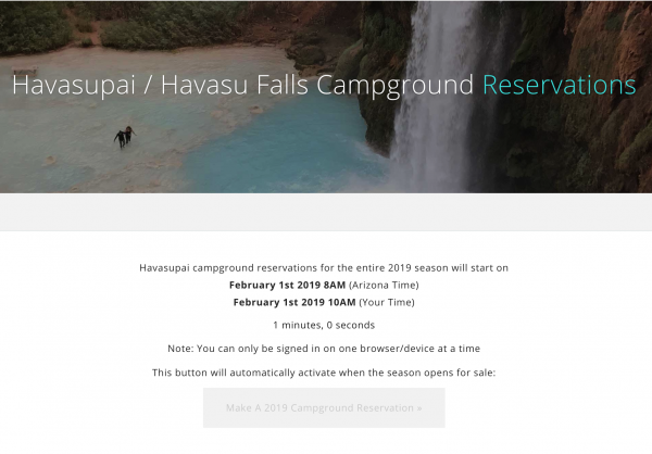 Havasu Falls Campground Reservation Countdown