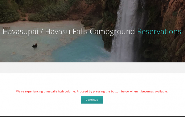 Havasu Falls Reservation High Volume Warning