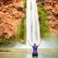 Hiker at Mooney Falls