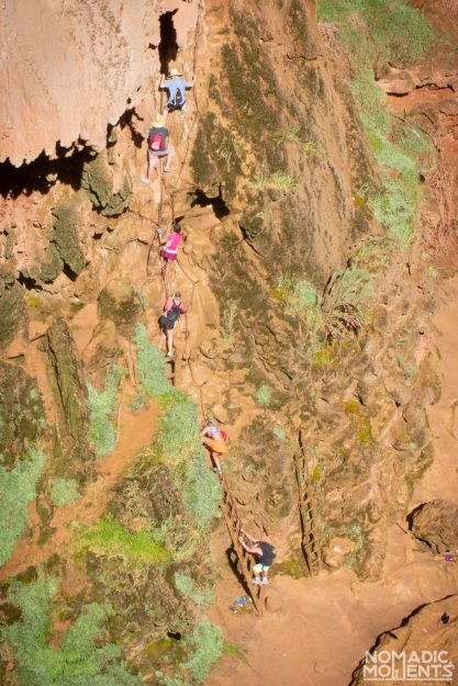A queue of people on the Mooney Falls climb.