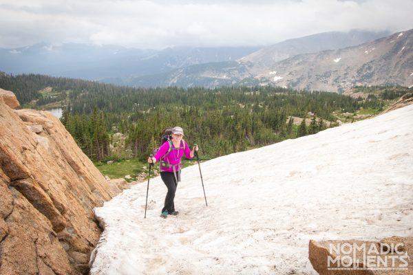 Hiking Lion Lakes on Snow