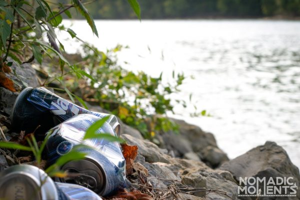Beer Cans by the Lake