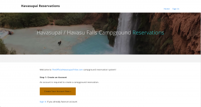 Havasupai / Havasu Falls Reservation Sign In