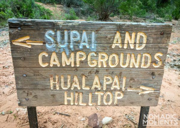Supai & Hilltop Hiking Sign