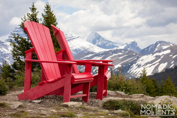 Canadian Rockies Guide and the Red Adirondack Chairs
