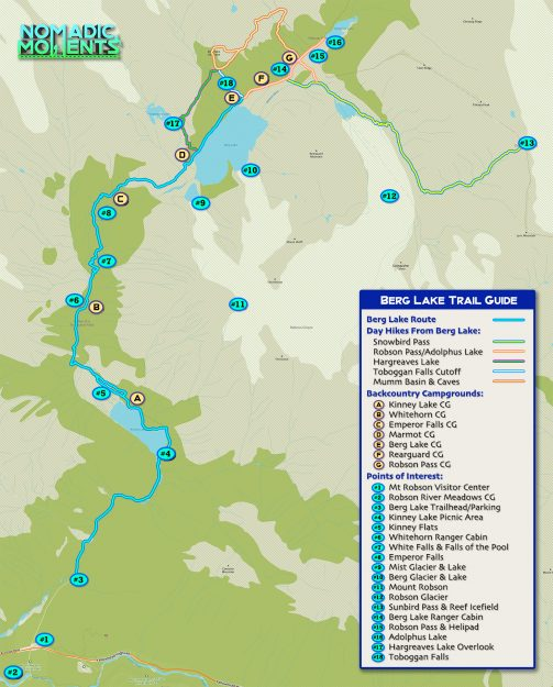 Berg Lake Trail Guide Map