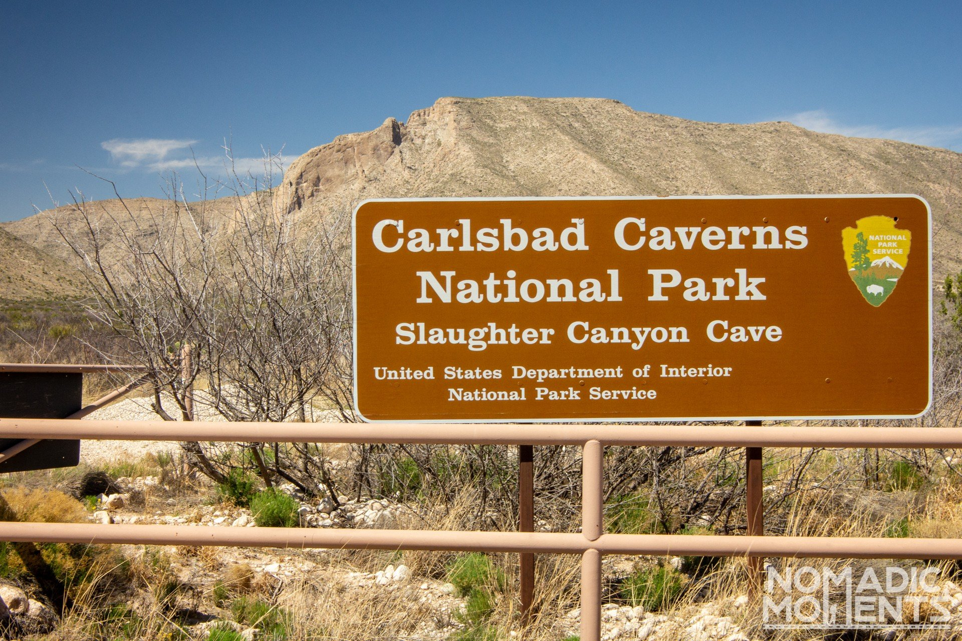 Visiting Slaughter Canyon Cave Sign