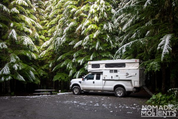 Truck Camper in the Woods