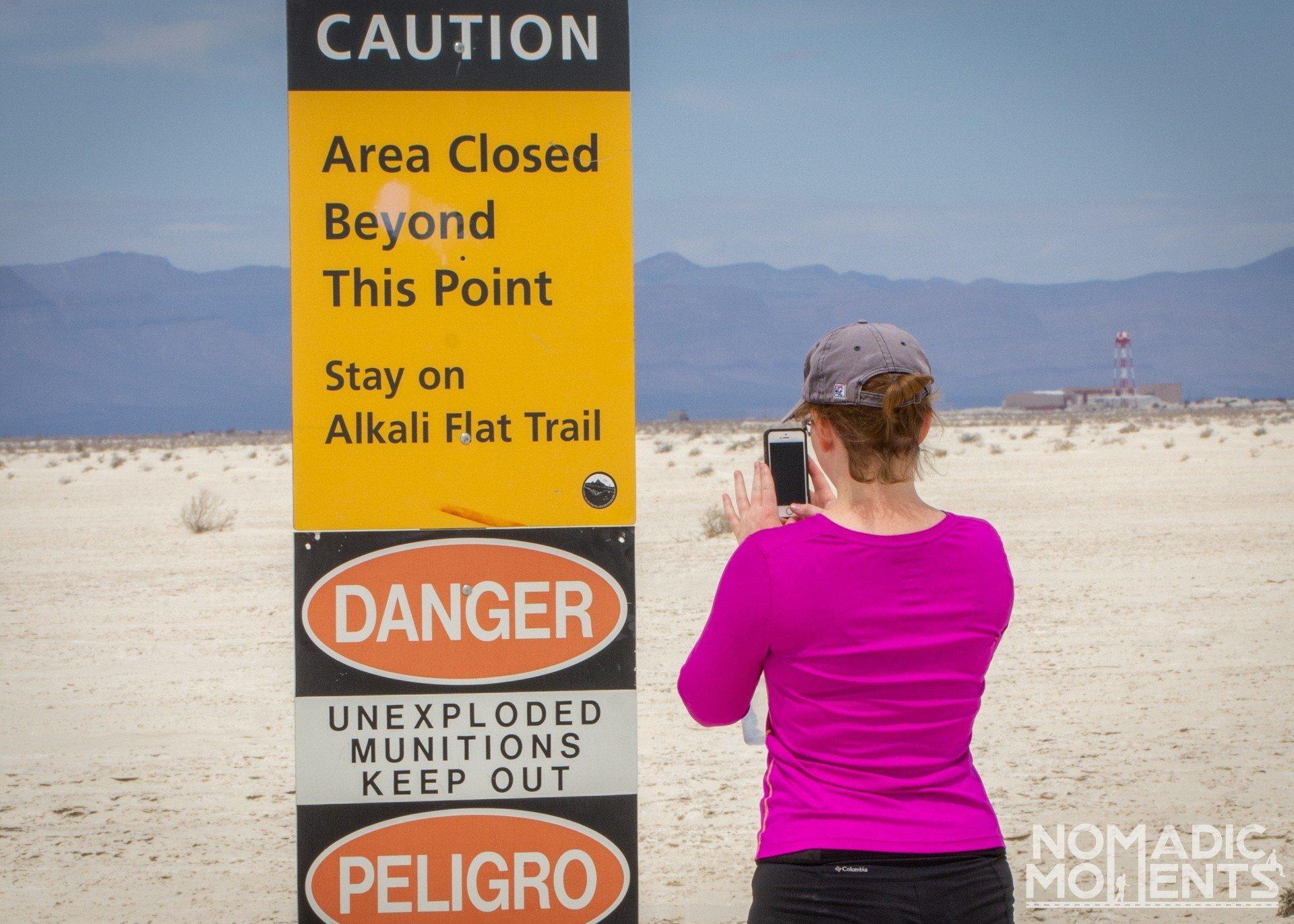 Hiker on the Alkali Flat Trail