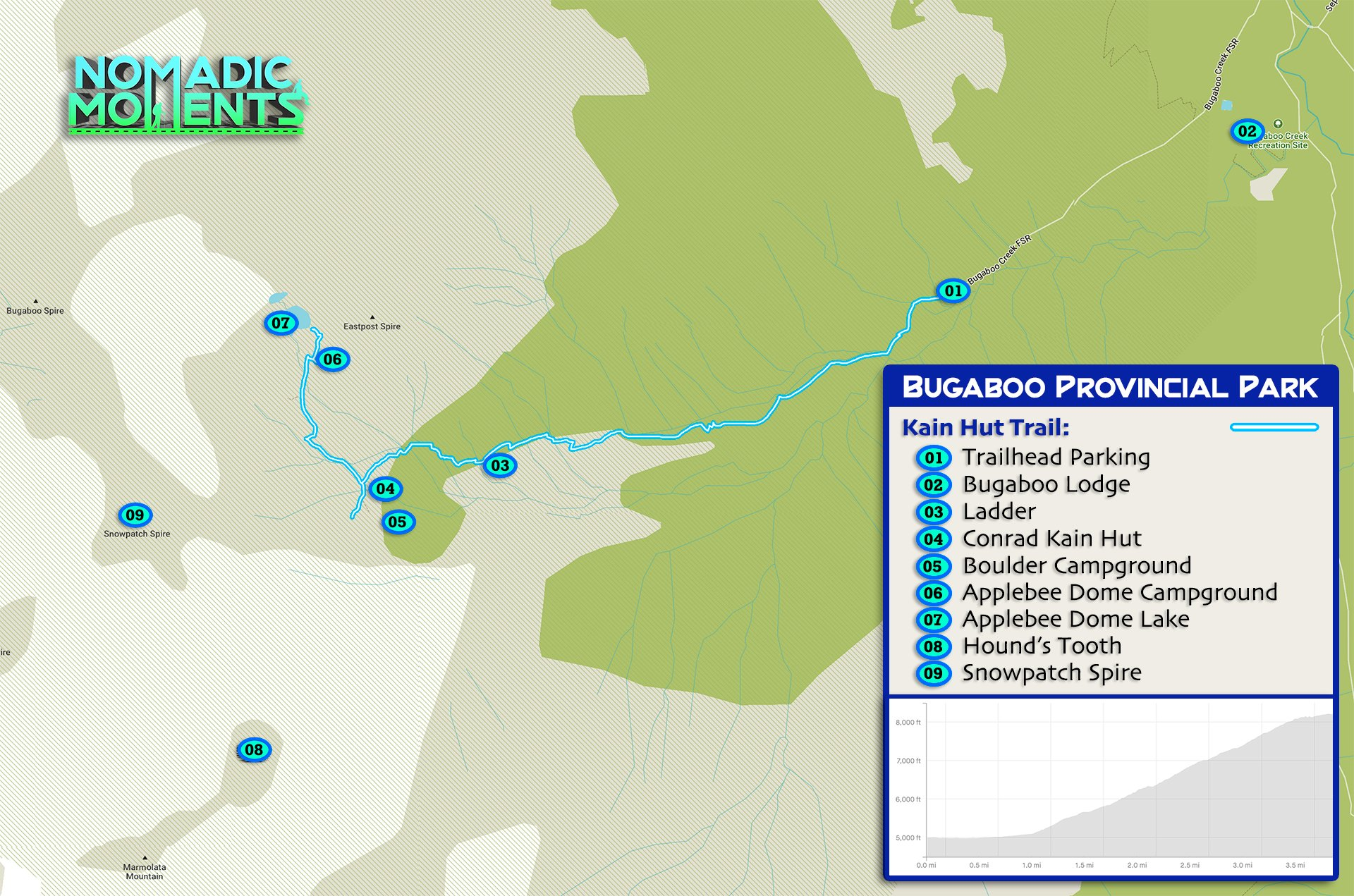 Hiking Bugaboo Provincial Park Trail Map