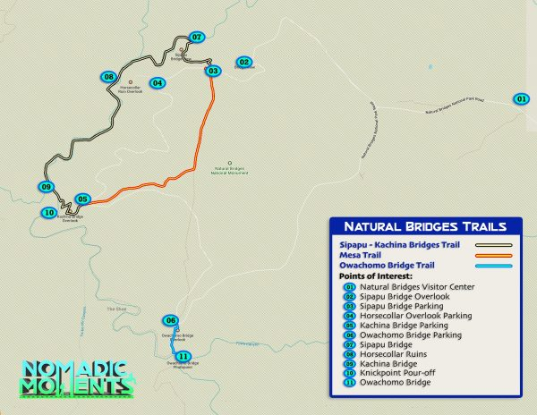 Hiking Natural Bridges NM Map
