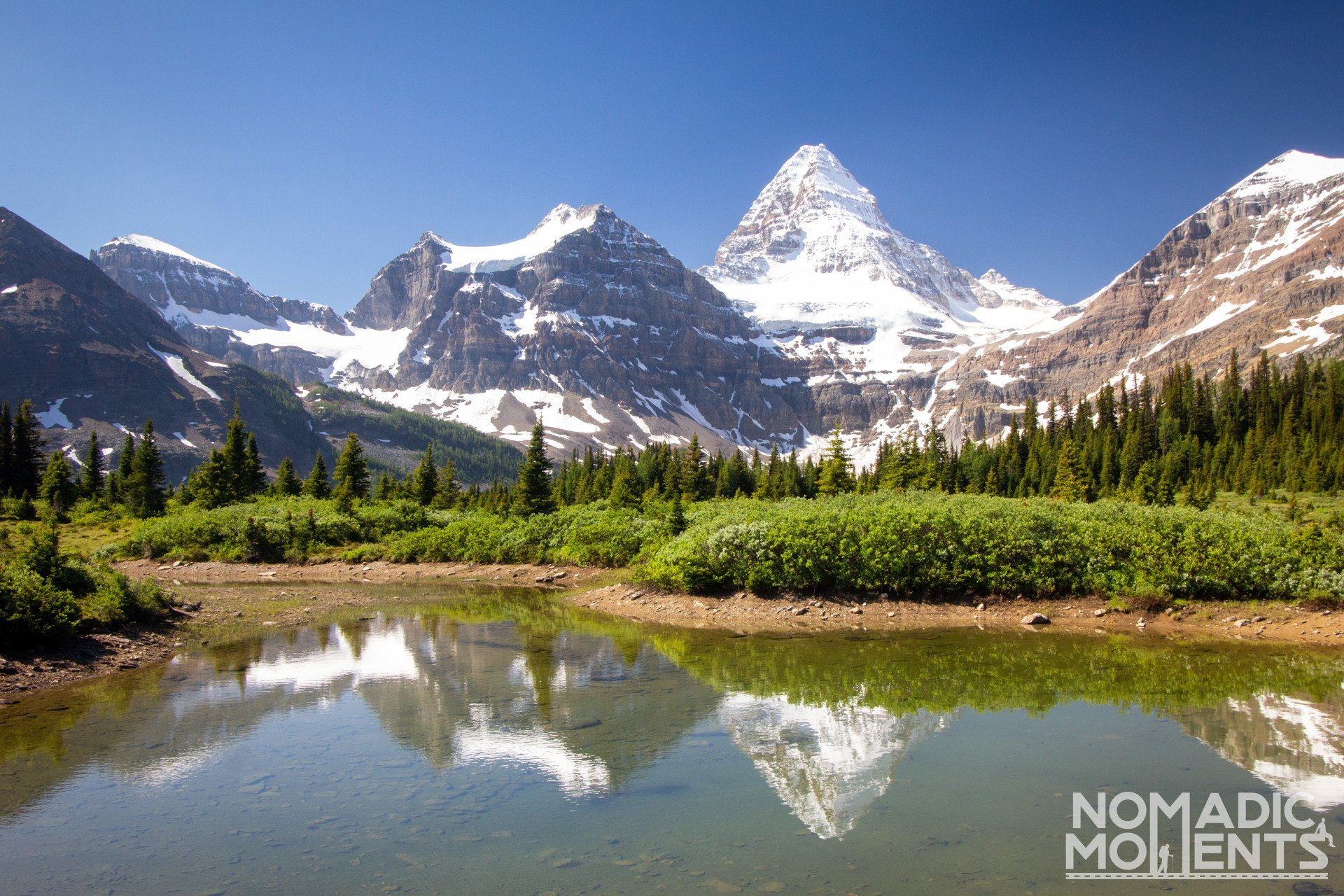 Reflections of Assiniboine and Mogog Mountains